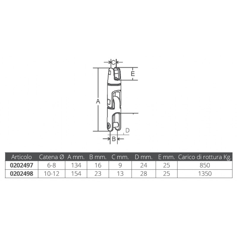 Connector stainless steel double articulation, 6-8 mm chain