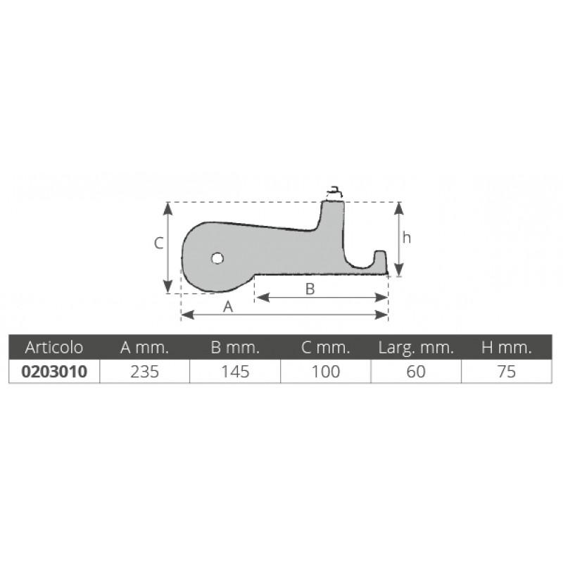 Bow roller compact aluminium 235 x 60 mm