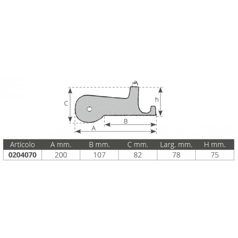Roldana de Proa compacta en Aluminio 200 x 78mm