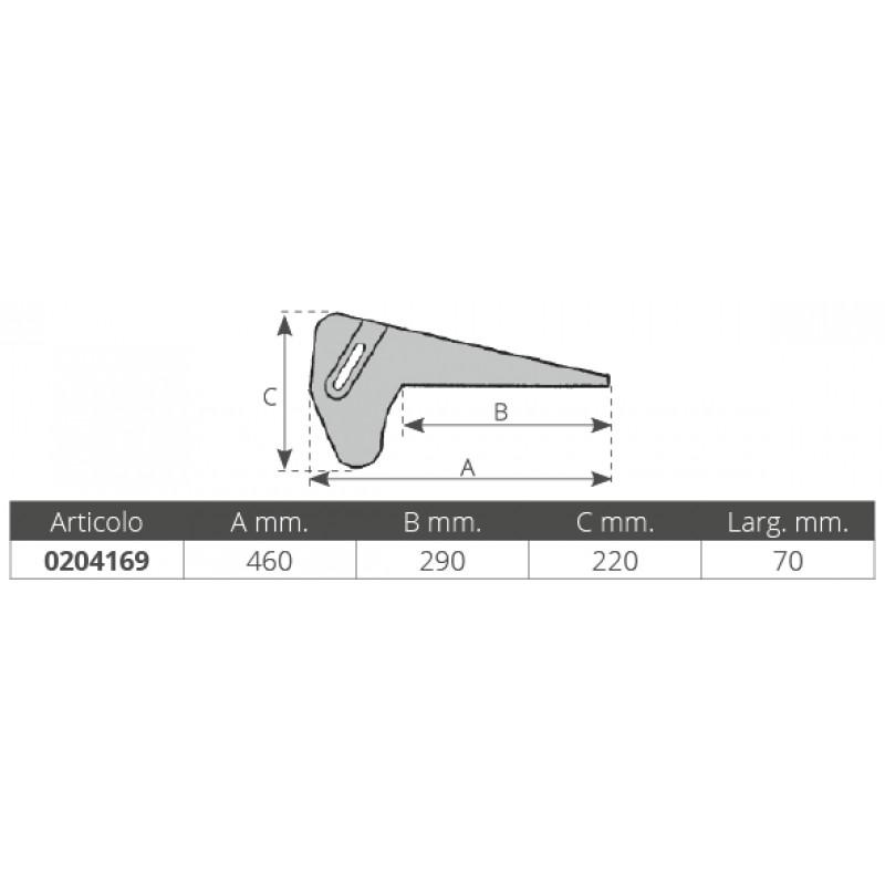 Puntera de Proa Fija en Aluminio 460 x 70 mm