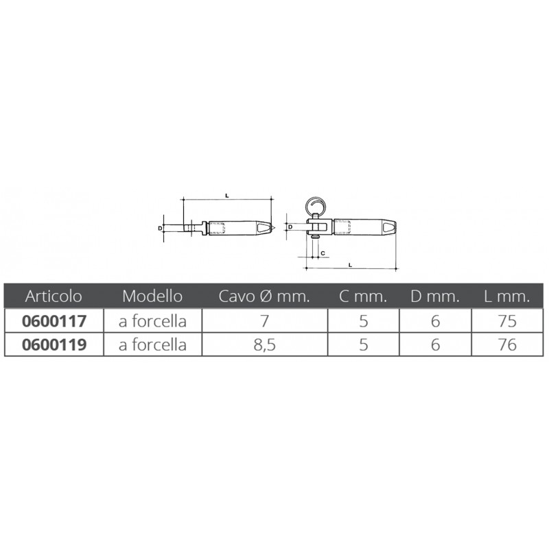 Parafil Wire Fork Terminal 7 mm
