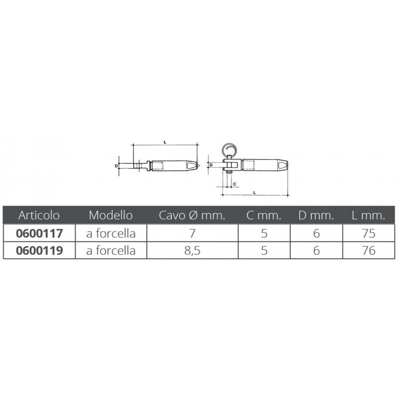 Terminal de Horquilla cable parafil 7 mm