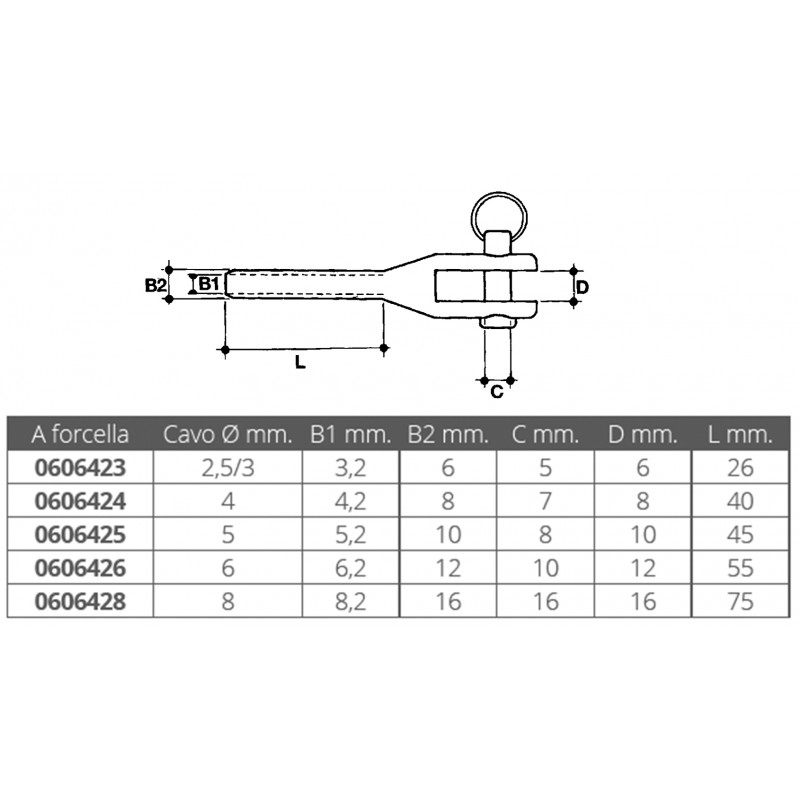 Stainless steel fork terminal for crimping cable nautico 5 mm