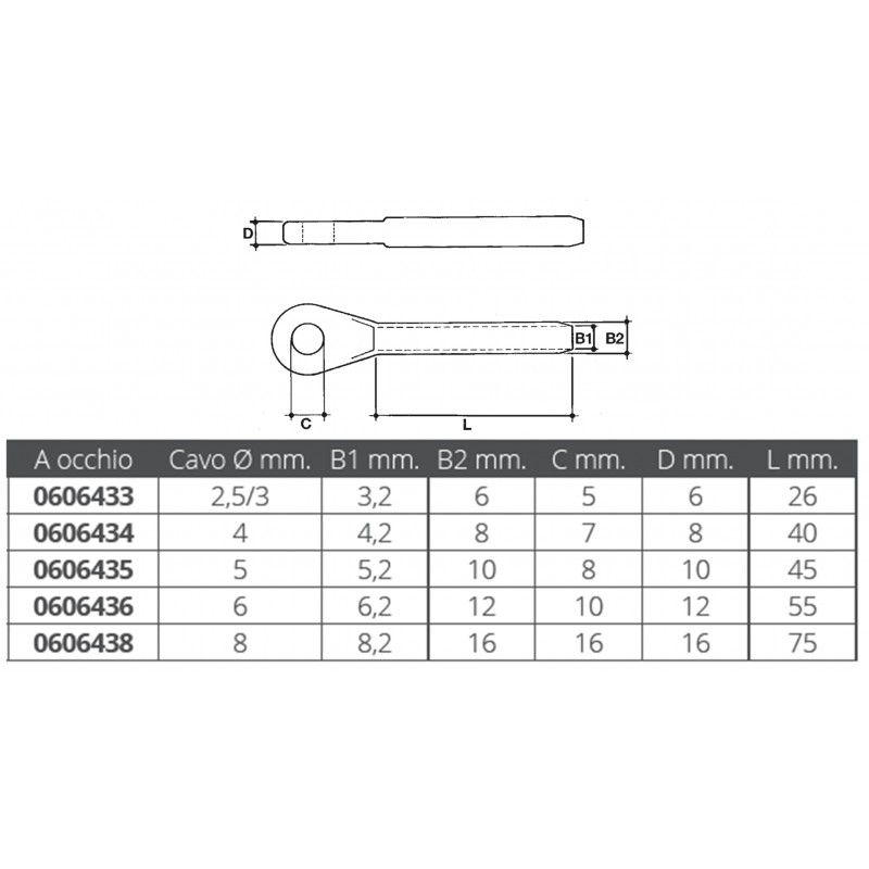 Terminal stainless steel eye for crimping nautical cable 6 mm