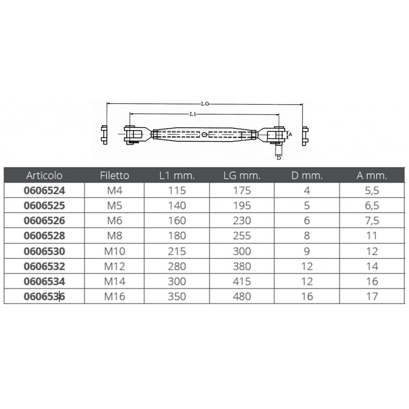 Stainless Steel Rigging screws with two fixed jaws 5 mm