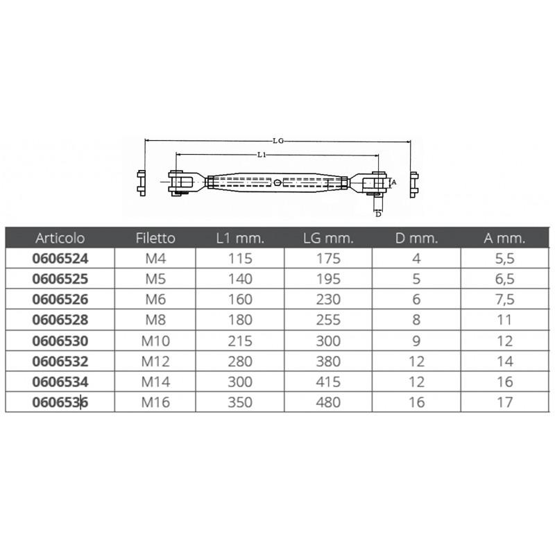 Tensores de Cable Tubulares en Inox Aisi 316 M16