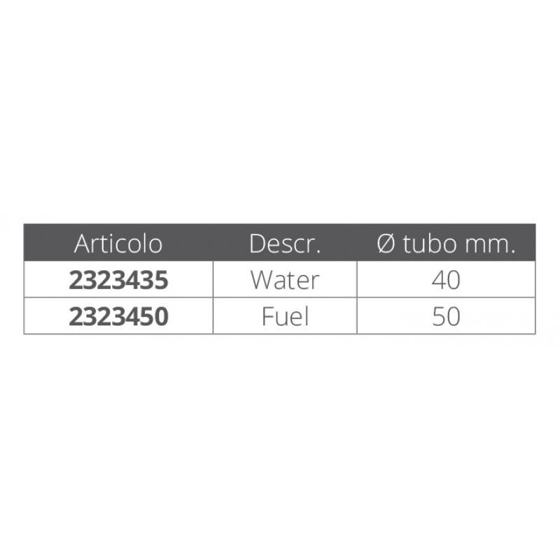 Boca de Llenado Combustible Inclinada en Latón Cromado 50 mm