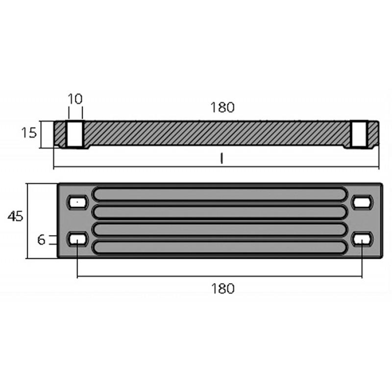 Ánodo de Aluminio 6AW-4525-1 Yamaha, Mariner