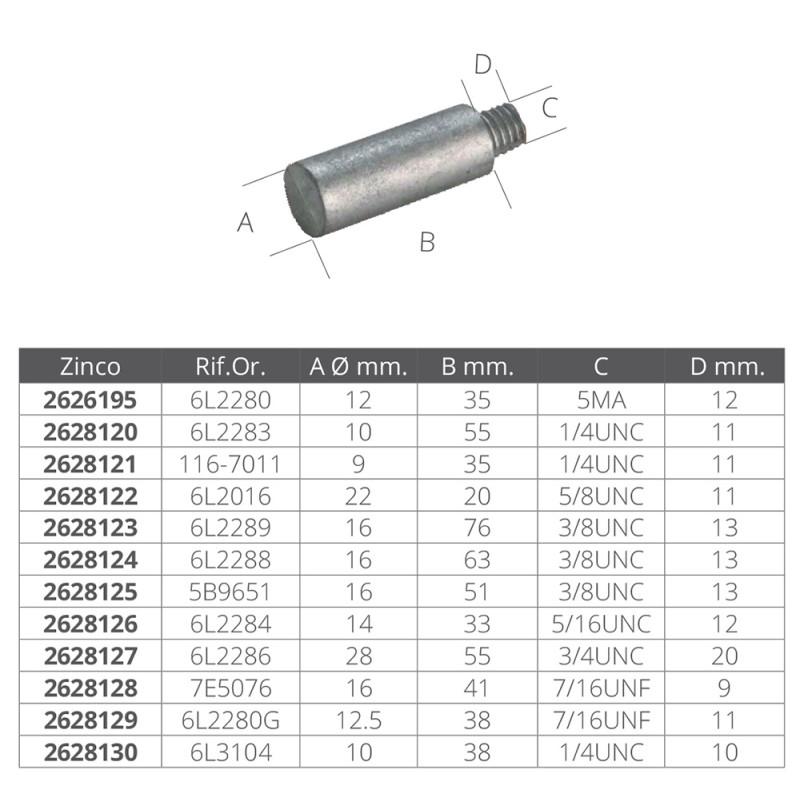 Zinc anode Caterpillar Ref. OR. 6 l 2289