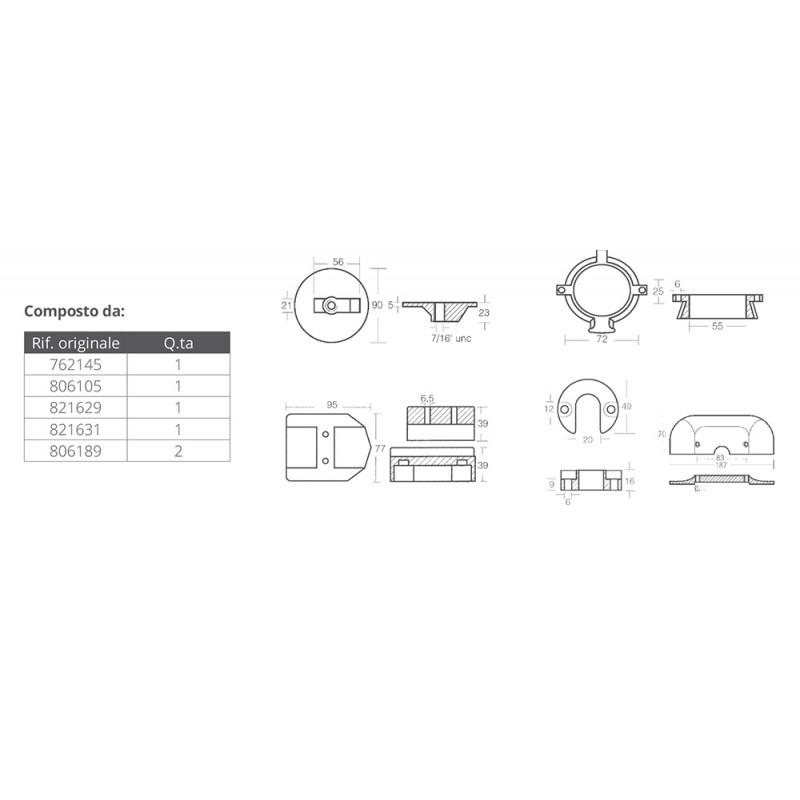 Pack anodos Aluminio para Mercruiser Alpha one generation II