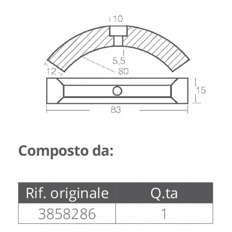 Anodo aluminio Helice tres palas Volvo Penta