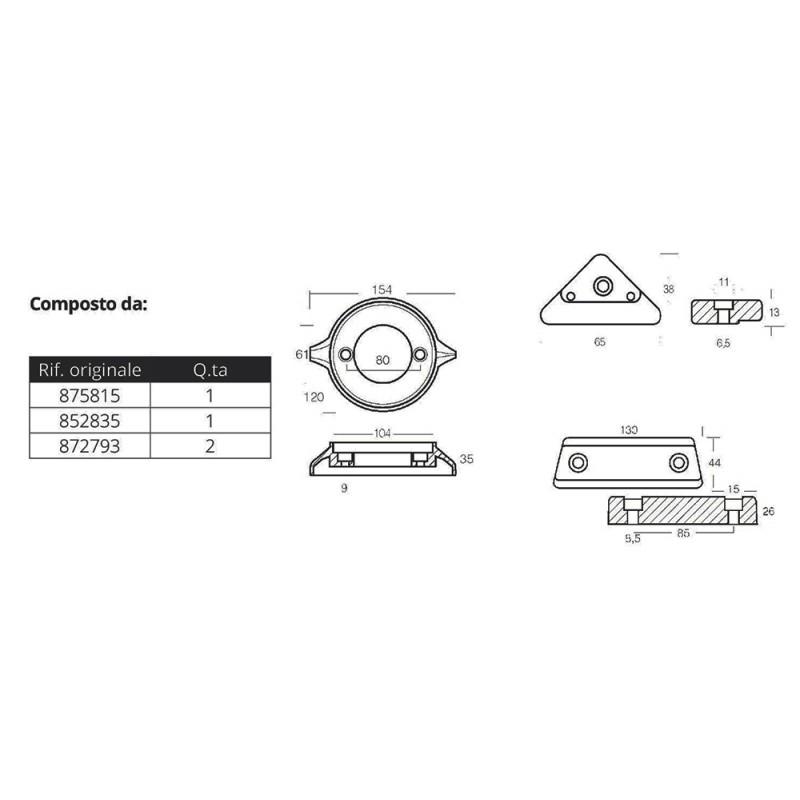 Kit anodos aluminio Volvo Penta 290C