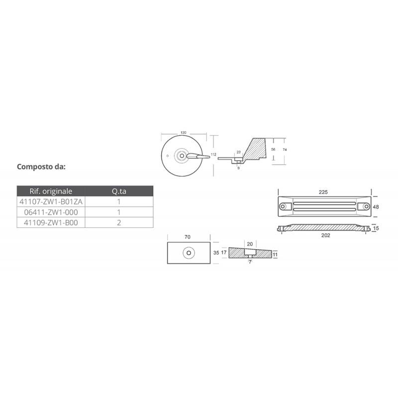 Kit anodos aluminio para Honda BF 75-90-115-130
