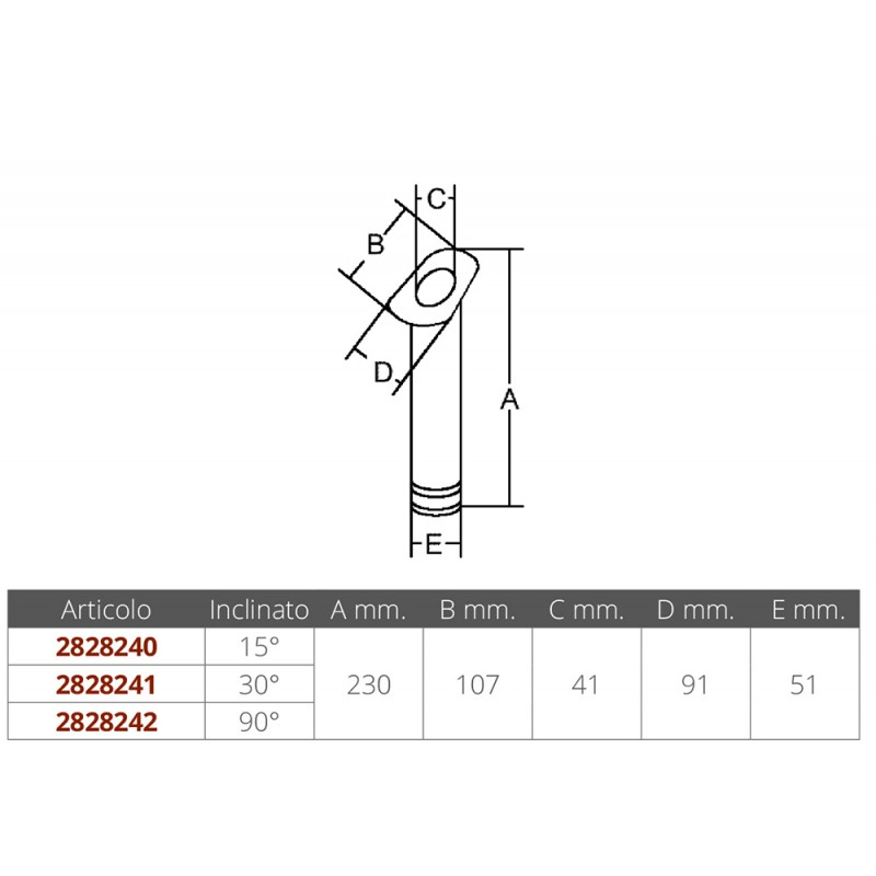 Rod holder stainless steel angle 15 °