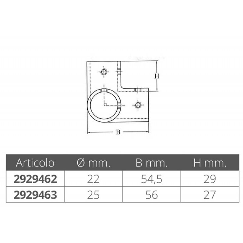 Codo Triple Inox de Fundición para Tubo 25 mm