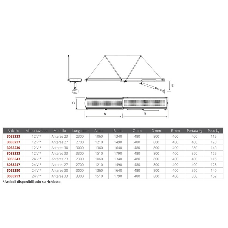 Hydraulic Telescopic Stainless Gangway 12v Antares 30 (3000mm)