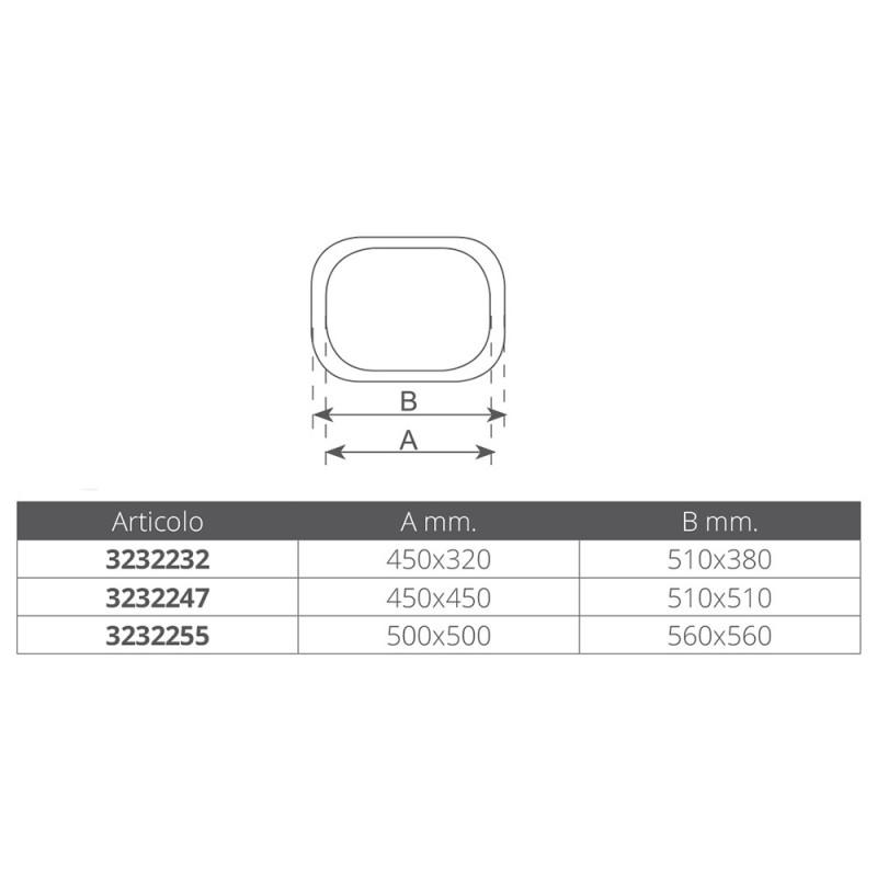 Escotilla Marina de Aluminio 510x510 mm , Metacrilato Ahumado