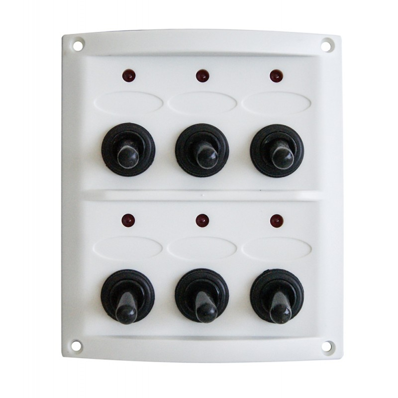 Panel power 6 switches white 108 x 125 mm