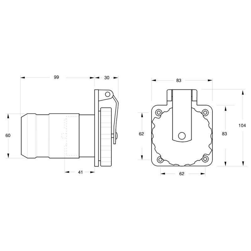 Enchufe Electrico Inox Marinco Easy Lock 50 A, 125-250 V