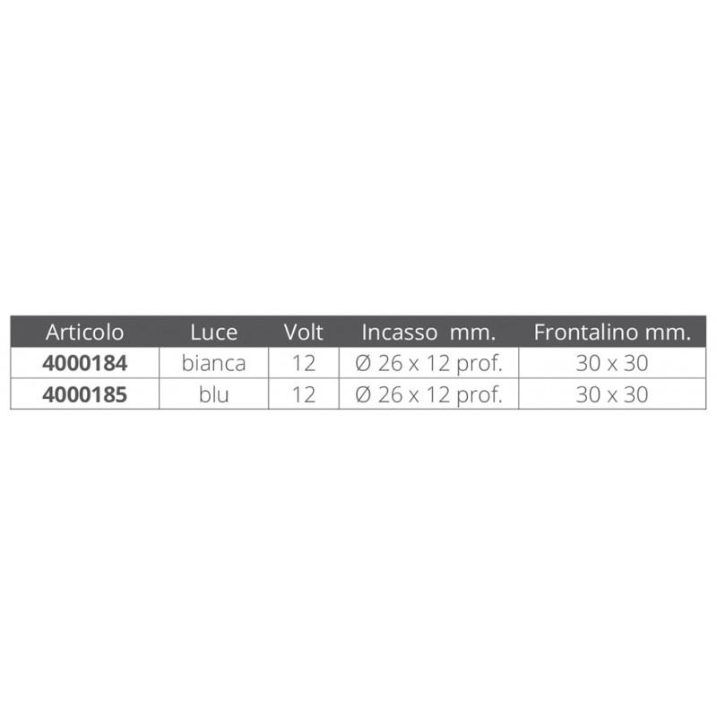 Aplique Náutico Cromado de Led. 30x30mm, 12v
