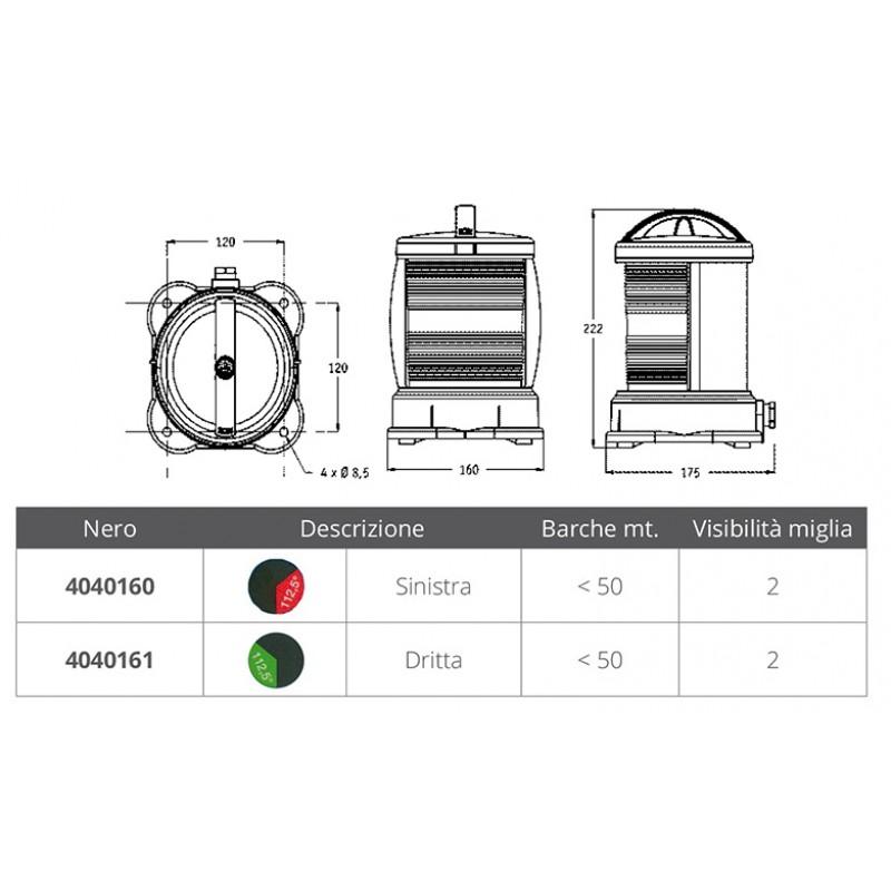 Luz de Navegacion DHR S55 hasta 50mt Carcasa negra Señal Roja babor