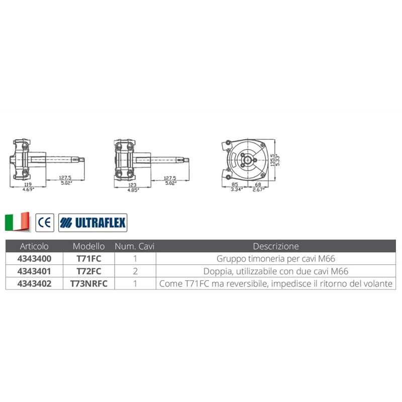 Caja de Direccion Ultraflex T71FC para 1 cable de direccion M66