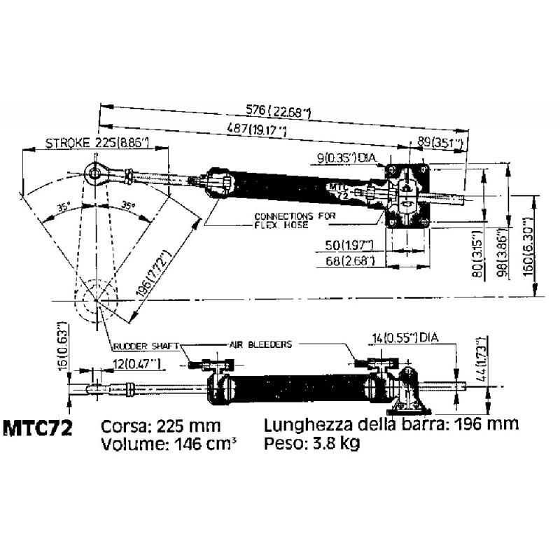 Cilindro Hidraulico Vetus MTC 72
