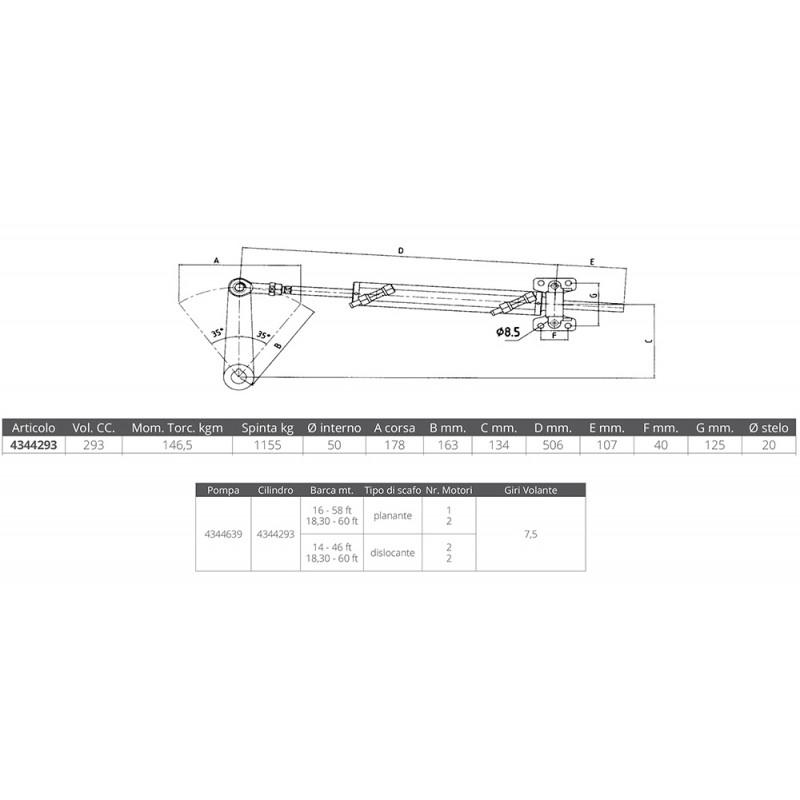 Cilindro Hidraulio Ultraflex UC293-I-way Dirección Intrabordas