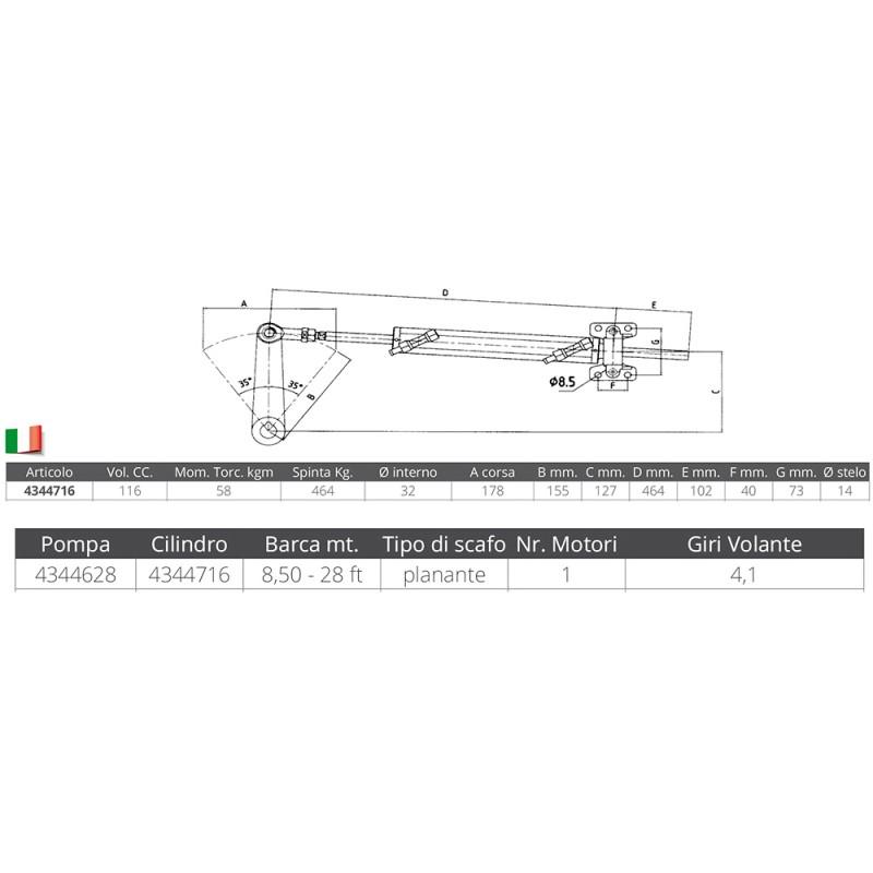 Cilindro Hidraulico Ultraflex Aluminio 116 Vol. CC. UC116-i
