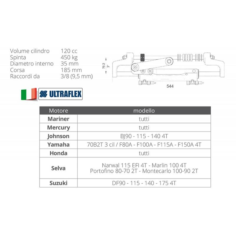 Cilindro Hidraulico de dirección Montaje Frontal Ultraflex UC128-OBF/1