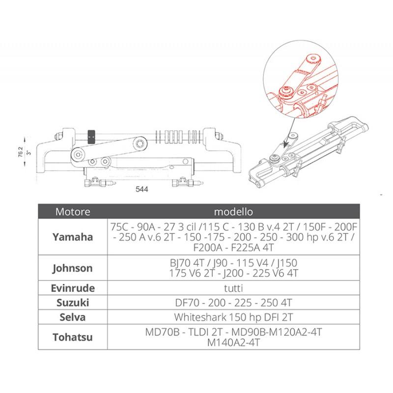 Cilindro Hidraulico de dirección Montaje Frontal Ultraflex UC128-OBF/2