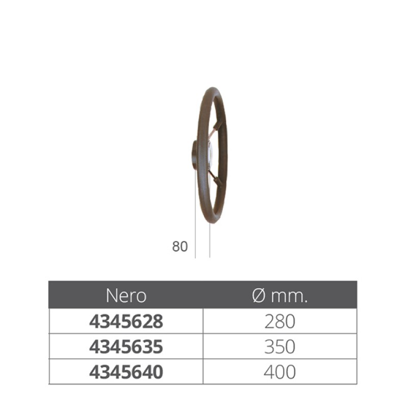 Rueda de timón inox forrada poliuretano Negro 5 radios 350 mm