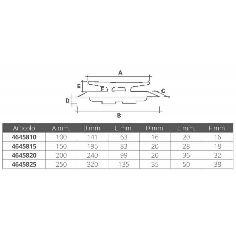 Cleat stainless steel Flat Top 250 mm