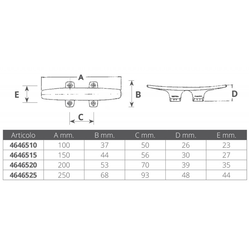 Round stainless steel cleat 100mm
