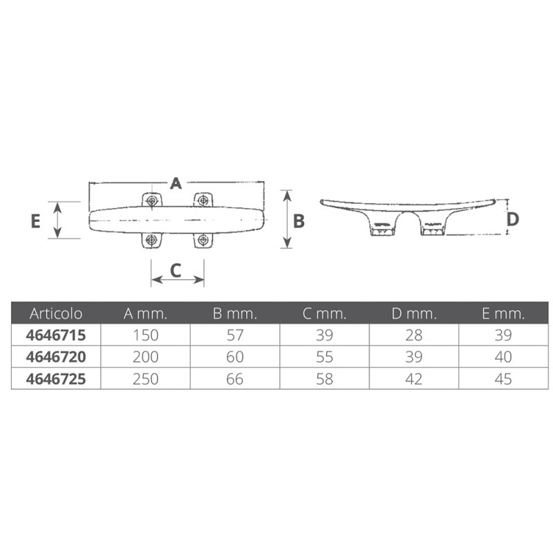 Cleat flat stainless steel 200mm