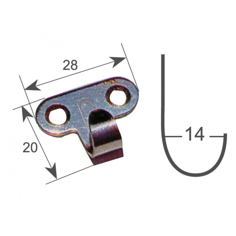 Stainless steel hanger hook 32x12 mm
