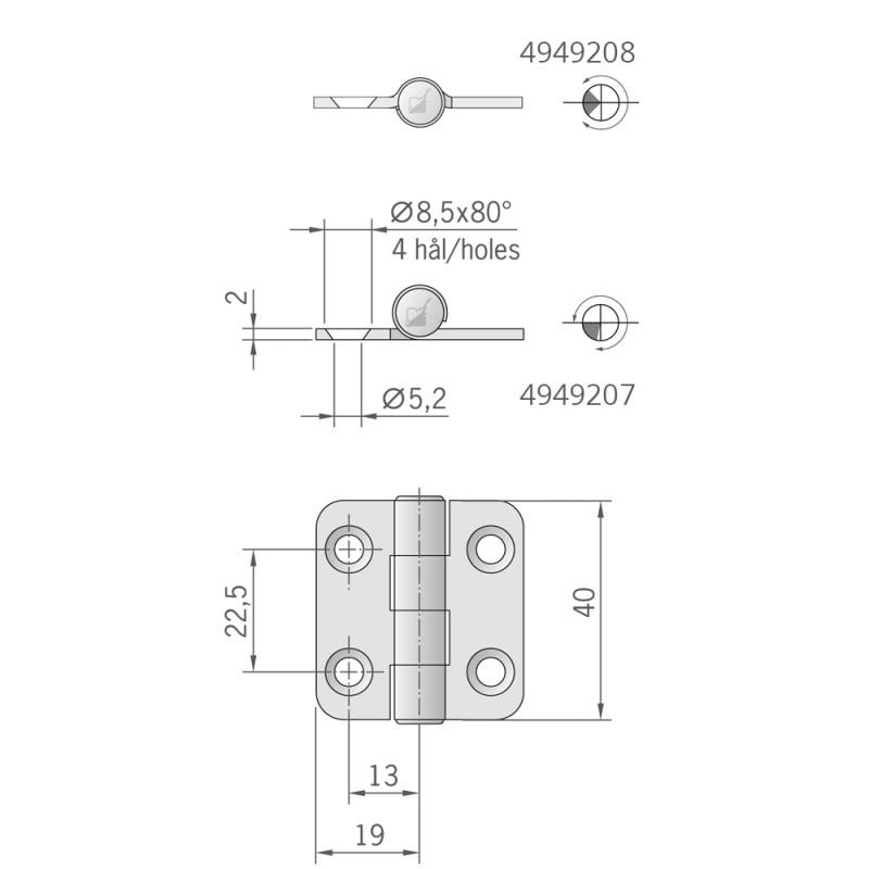 Bisagra de acero inoxidable estándar 40 x 38 mm