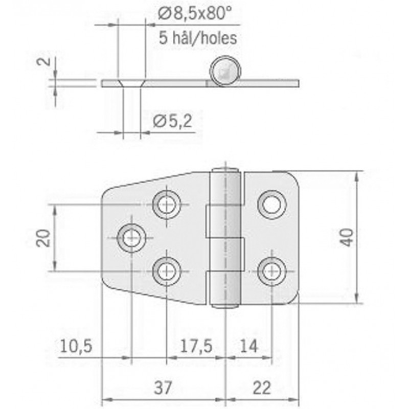 Nautica stainless steel hinge pin ∅ 9 mm, 59 x 37 mm, upside down