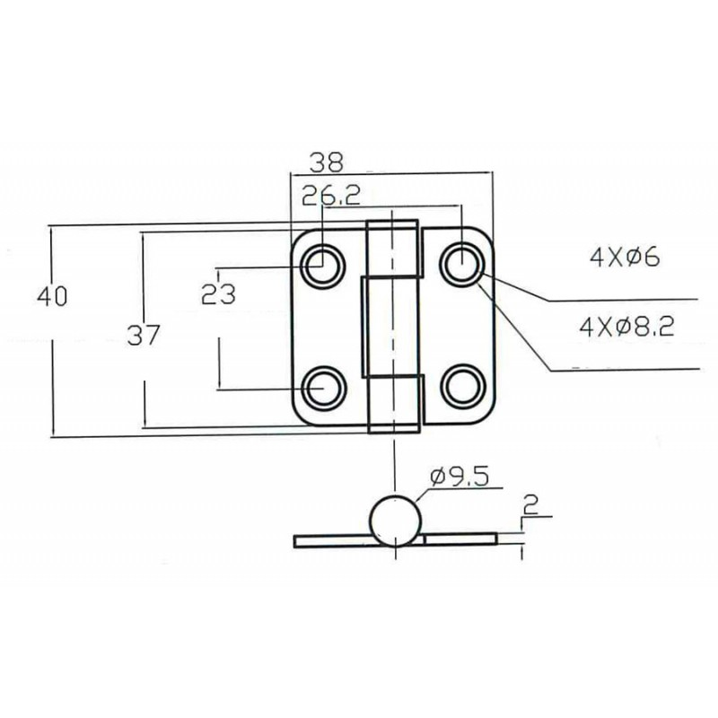 Hinges with clutch 37 x 38 mm.