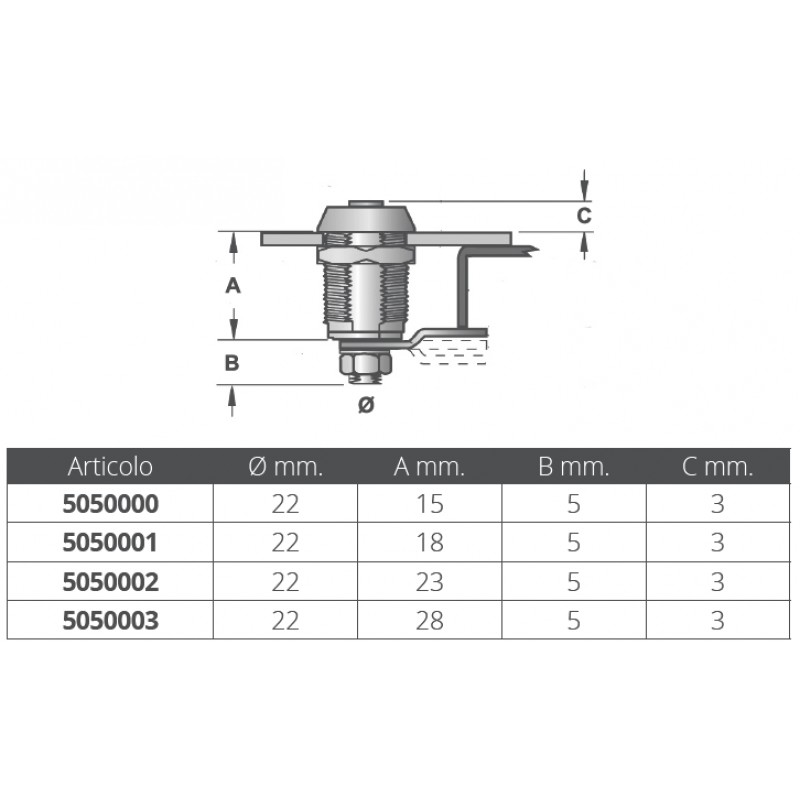 Chrome-plated bolt type cylinder 18 mm