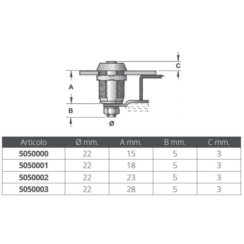 Cerrojo cromado tipo cilindro 28 mm