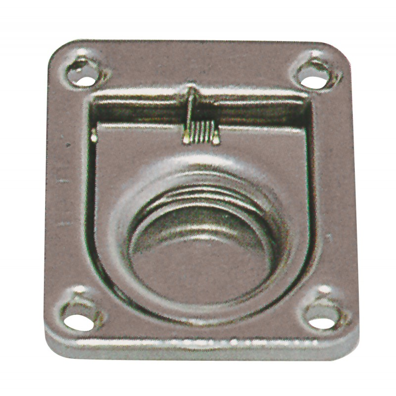 Flush ring pull Anti-vibration in polished stainless steel 44 x 37 mm