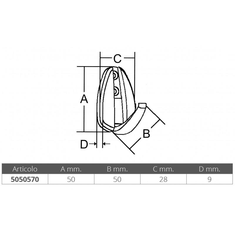 Simple stainless steel coat hanger 50 mm