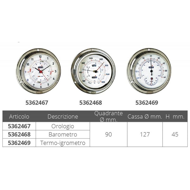 Stainless steel Clock Vion 127 mm Quartz