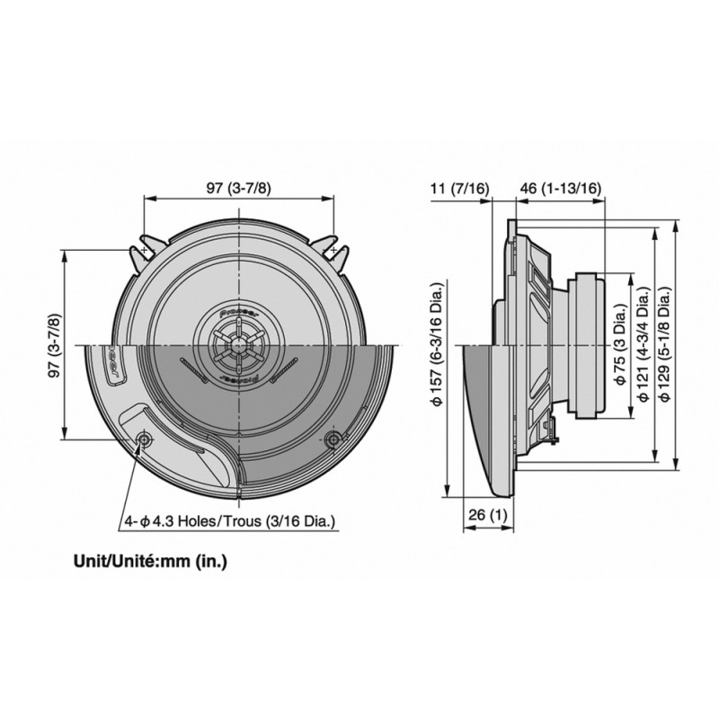 Juego Altavoces Náuticos Pioneer 130 mm, 130w 2 Vias