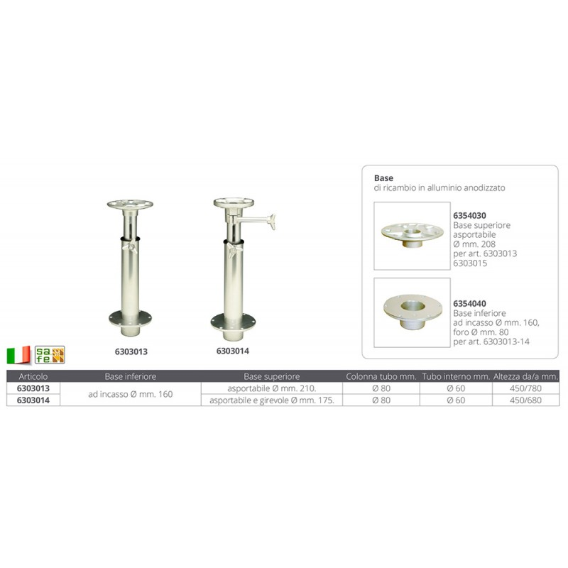 Pedestal en Aluminio para Mesas. Desmontable. Ajustable 450-780 mm