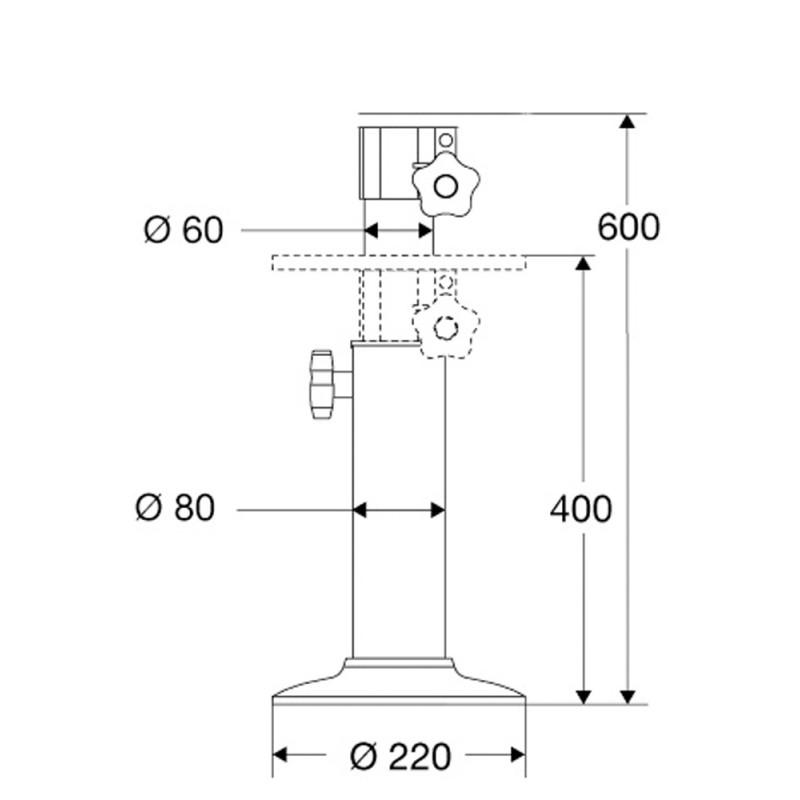 Aluminium telescopic 400 - 600mm for armchairs of pedestal