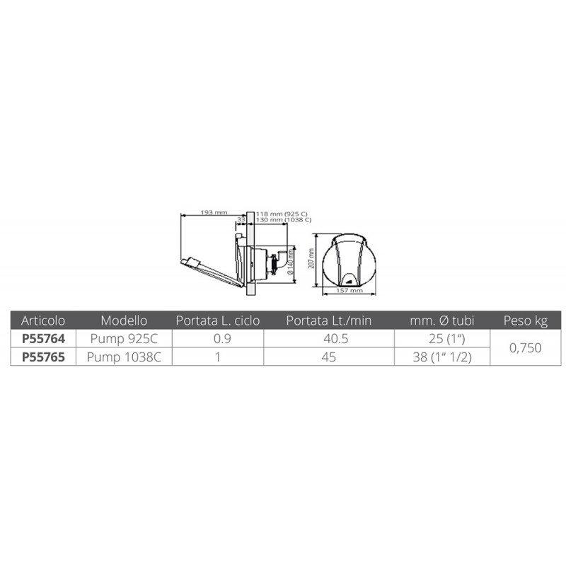 Pump without bypass 1038C