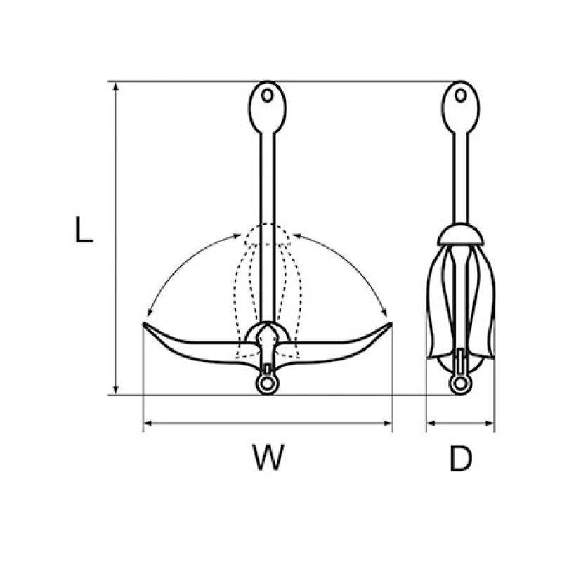 Ancla Plegable Inox 1.5kg