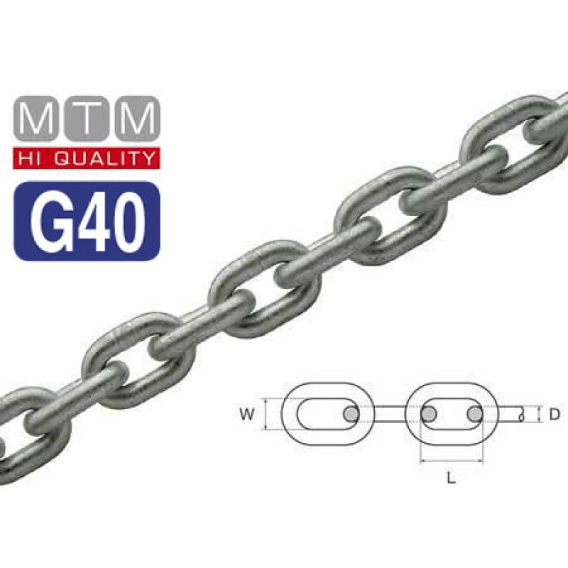 Calibrated Hot-dip Galvanized Steel chain for windlasses G40 Grade 7mm x 100mt
